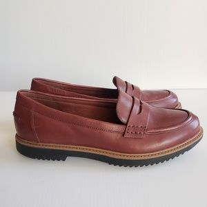 Clark's Collection 8.5 Red Leather Penny Loafers